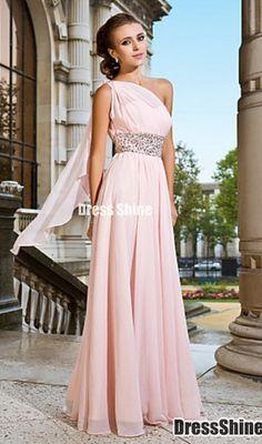 One shoulder pale pink dress with crystals at waistline and a trailing shoulder cape.
