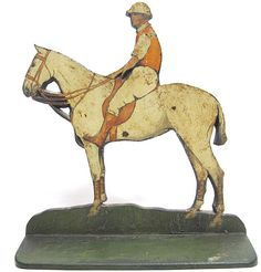 """RARE Antique Hand Painted 14"""" Cast Iron Race Horse Jockey Doorstop Door Stop yqz Doorstop, Vintage Iron, Iron Doors, Metal Casting, Horse Racing, Rare Antique, Cast Iron, Bookends, Hooks"""