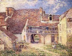 Сислей Альфред.Двор фермы в Сен-Мамме. 1884 Холст, масло, 73.5x93, Музей д'Орсэ, Париж.