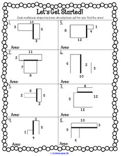 Area and Perimeter Missing Sides - Area Activities Worksheets Games ...