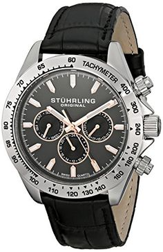 Men's Wrist Watches - Stuhrling Original Mens 564L01 Triumph Swiss Quartz Multifunction Grey Dial Watch >>> Check out the image by visiting the link. (This is an Amazon affiliate link)