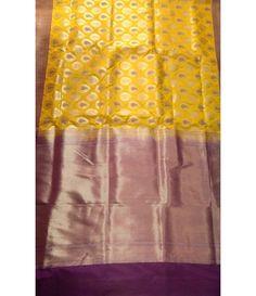 Purple and Yellow Banarasi Opara Meena Weaving Silk  Saree