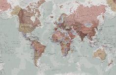 Classic World Map Wallpaper Mural   Hovia