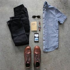 Smart Grid by @awalker4715   Follow  @stylishgridgame    Brands ⤵ Shirt: @jcrew Jeans: @japanbluejeans Shoes: @redwingheritage Sunglasses: @persol Watch: @omega Note Pad: @fieldnotesbrand