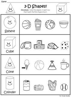 geometry activities for first grade  identifying d shapes in real  shapes worksheets d  d shapes kindergarten