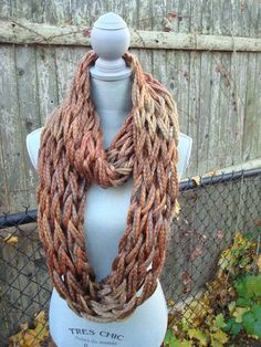 arm knit infinity scarf by idawho on Etsy - patons delish yarn in squash.