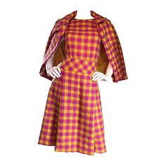 1960s Bill Blass for Maurice Retner Pink + Yellow Plaid A - Line Dress & Jacket | From a collection of rare vintage evening dresses and gowns at https://www.1stdibs.com/fashion/clothing/evening-dresses/