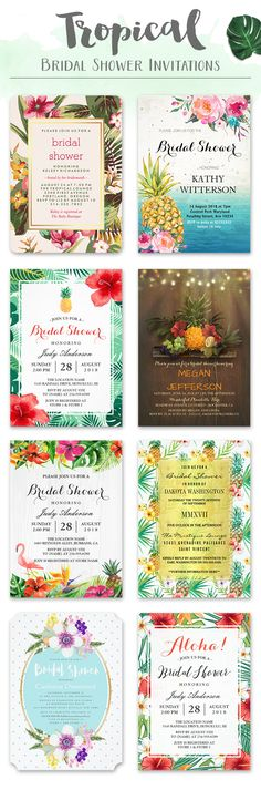 15 Tropical Bridal Shower Invitations You will Love.
