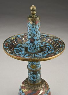 Cloisonne candle holder, Ming Dynasty.