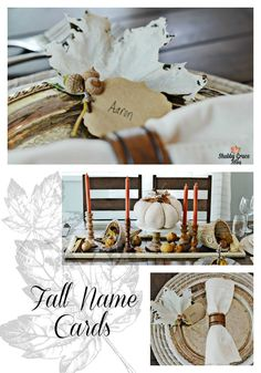 Fall Tablescape and DIY Name Cards. Create and Share Challengee. 7 Bloggers create with 1 Theme! www.shabbygraceblog.com