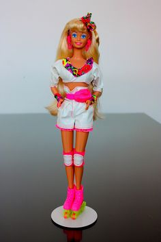 Rollerblading Barbie.  Sweet lord, the fanny pack.