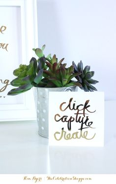 Foil Art & Succulents | Home Office Art | @kimbyers