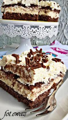Ewa w kuchni: Ciasto budyniowo - śmietanowo - czekoladowe Sweets Cake, Cookie Desserts, Sweet Desserts, Sweet Recipes, Cake Bars, Dessert Bars, Cheesecake Recipes, Dessert Recipes, Sweet Pastries