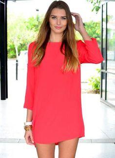 Long Sleeve Red Mini Dress