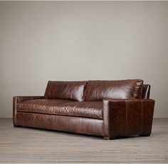 RH's The Petite Maxwell Leather Sofa:Maxwell's streamlined design features a low back and wide, squared-off seat and back cushions. Our petite size collections are perfectly proportioned for smaller spaces.