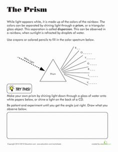 Printables Properties Of Light Worksheet lights worksheets and articles on pinterest prism worksheet