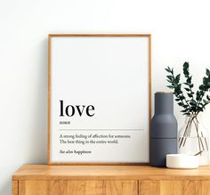 Love Definition Printable Art, Love Quote Print, Romantic Gift, Love Printable Decor, Love Wall Art Print *INSTANT DOWNLOAD* Father Quotes, Family Quotes, Printing Websites, Online Printing, Printable Quotes, Printable Wall Art, Family Definition, Father Definition, Travel Wall Art