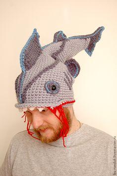 Головные уборы ручной работы. Ярмарка Мастеров - ручная работа шапка меня укусила акула. Handmade.