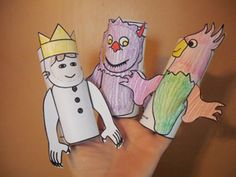 where the wild things are toilet roll characters- print and colour and paste- easy crafts to go with the book.