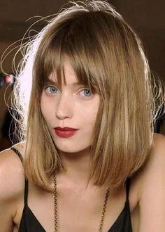 Long bob com franja Medium Hair Cuts, Medium Hair Styles, Short Hair Styles, Medium Bobs, Medium Cut, Medium Layered, Medium Bob Bangs, Medium Blonde, Short Bangs