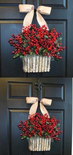 Holiday wreath Christmas wreaths for front door wreaths rustic red winter berry berries wreaths front door birch bark d