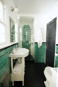 This vintage style bathroom features green subway tile along with chrome fixtures. Credits: The Property Sisters Desig 1930s Bathroom, Bungalow Bathroom, Art Deco Bathroom, Vintage Bathrooms, Bathroom Kids, Small Bathroom, Brass Bathroom, Kids Bath, Master Bathroom
