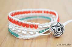 Bohemian Wrap Bracelet // Red and Turquoise and Silver by Gomeow