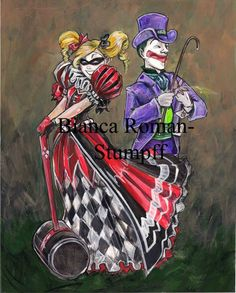 Dapper Joker & Harley by Bianca Roman-Stumpff, 5X7 mounted print, signed on a white border at the bottom