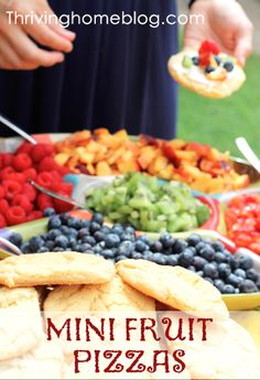 Mini fruit pizzas with cream cheese frosting. Great for showers, birthday parties, and large gatherings.