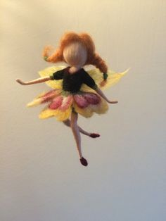 "Needle felted fairy Waldorf inspired  Dancing Flower Fairy ""Pansy "" Elf Ballerina Mobile Gift Art doll Doll miniature"