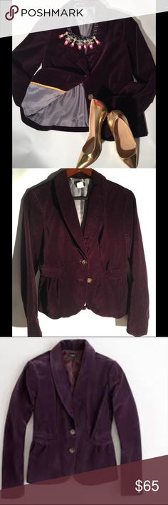 💕[JCrew Factory Velvet Blazer💕 Beautiful velvet blazer with yellow trim gray satin lining. This jacket with it's Rich burgundy color will dress up any outfit or just throw it on with a t- shirt and jeans 👖. All reasonable offers considered and closet discount on bundles.💕 JCrew Factory Jackets & Coats Blazers