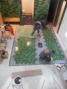 Enhancing gorgeous green Marrakech Design encaustic tile prior to installation.