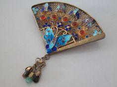 Fine-sterling-silver-gilt-chinese-enamel-and-cornelian-fan-brooch