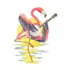 Flamingo with Banjo | Print by ColbyAitchison on Etsy https://www.etsy.com/listing/214792483/flamingo-with-banjo-print