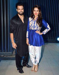 Rithvik Dhanjani and Asha Negi at Ashish Chowdhry's #Diwali bash. #Bollywood…
