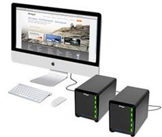 Thunderbolt equipped Drobo 5D and Drobo Mini storage devices pinned by Noah