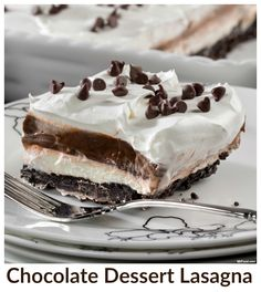 What could be better than this creamy, no-bake, chocolate dessert lasagna? Not much!