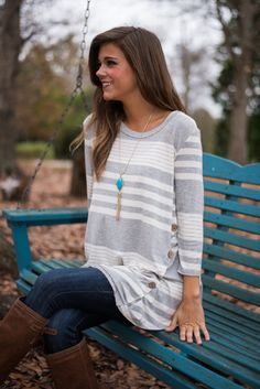 We got sidetracked by how much we love this gray striped top!
