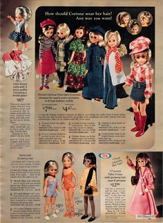 1972 Corinne from Italo Cremona, Ideal Crissy and her family and Little Lella from Italy Velvet Dolls, Crissy Doll, Toy Catalogs, Vintage Barbie Dolls, 1970s Dolls, 1960s, High Fashion Outfits, Barbie Collection, Collector Dolls