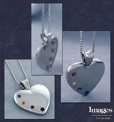 Symbolic of a mother's unconditional love for family, this sparkling 14k white gold heart necklace may be personalized with up to four round precious birthstones representing her family. In this example the piece features pink tourmaline, honey topaz, alexandrite, and blue sapphire. Strung on an 18 inch box style chain.