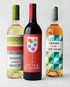 Print out these free wine labels for Christmas and the New Year for a last minute gift on the go.