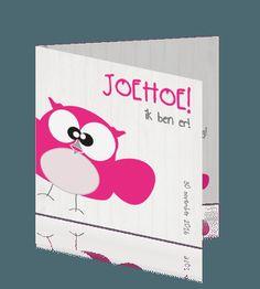 Hip geboortekaartje voor een meisje met een vrolijk roze uiltje