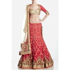 Red and Gold Embellished Net Bridal Lehenga by Satya Paul