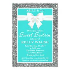 Inspired Glitter White Bow Sweet 16 Invitation