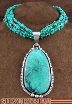 American Indian Jewelry Turquoise Genuine Sterling Silver Pendant And Necklace Set AS43014