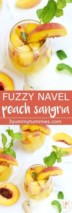 Fuzzy Navel Peach Sangria is a delightful combination of one of my favorite cocktails with white Moscato and fresh peaches. #sangria, #cocktails, #peaches #peachsangria #fuzzynavel