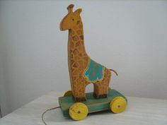Old Wooden Pull Toys | Vintage Reproduction Giraffe Wooden Pull Toy by TheTreeFolkHollow, $45 ...