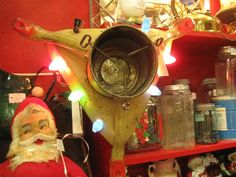 Vintage Christmas tree stand with working lights. From Vendor 806 in booth 2. Available at The Brass Armadillo Antique Mall - WheatRidge, CO! (303) 403-1677.