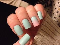 Ombré Essie's Mint Candy Apple and L'Oreal Penthouse Pink with Matte About You top coat