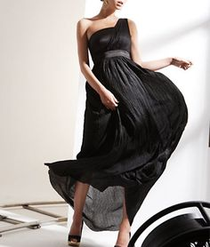 One Shoulder Black Rayon Maxi Prom Dress